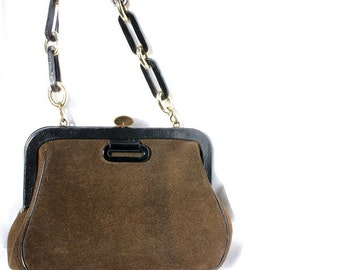 Vintage Handbag Roger Van S. 60s Mod Vintage Brown Suede Handbag with Leather and Gold Chain Handle