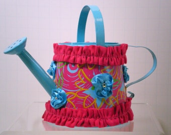 Small Fabric Adorned Metal Watering Can Decoration, Adorable Small Metal Watering Can Decoration