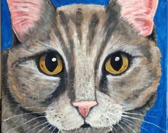 Original Acrylic Painting - Tortie Cat 10x10
