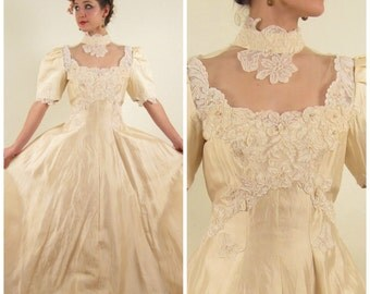 Vintage 1980s Wedding Dress in Ivory Satin with Lace Embroidery Beading / 80s Short Sleeved Princess Bridal Gown / Medium / AS IS