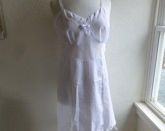 Slip Dress 36/38 M/L White Dove Glam Garb Handmade USA Romantic Dress Victorian Nightgown Steam-punk Vintage Beach Country Wedding Bohemian