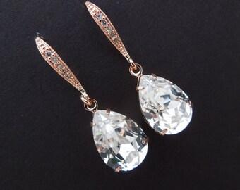 Rose Gold Bridal Earrings Rhinestone Bridal Earrings Swarovski Crystal Teardrop Earrings Bridal crystal Earrings Wedding Jewelry ARIA