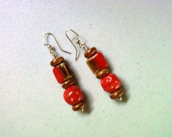 Red and Brown Ceramic Earrings (1409)