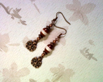 Copper and Ivory Ethnic Earrings (1679)