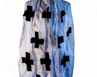 Gothic Clothing Nuno Felt Silk Scarf with Black Wool Crosses