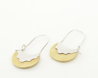 Heat Wave Dangle Earrings made of sterling silver and brass