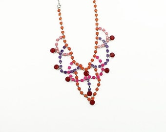 Neon Hand Painted Rhinestone Necklace in Orange, Pink, Purple, and Red
