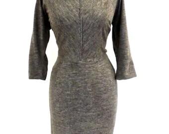 vintage grey pencil dress - 1960s mod knit dress