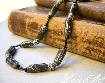 Music Paper bead necklace - music notes - black necklace - Eco friendly, lightweight, hand rolled beads - FREE SHIPPING