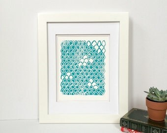 Soft turquoise blue wave linocut art print 9x12