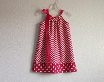 Little Girls Chevron Stripe Dress - Raspberry and Cream Chevron Stripes - Girls Sun Dress - Size 12m, 18m, 2T, 3T, 4T, 5, 6, 8, or 10