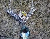 Vintage Watch Green Teardrop Statement Necklace