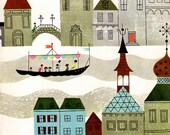 Boat on a canal in a town, mid century style illustration for boy bedroom