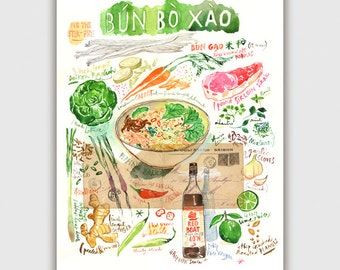Bun Bo Xao Vietnamese recipe painting print, Kitchen wall decor, Food poster, Asian wall art, Watercolor food Colorful print Vietnamese food