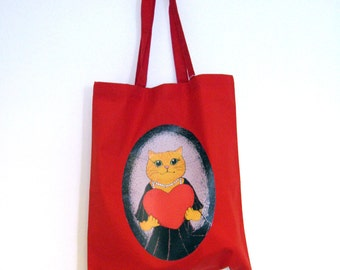 Valentine heart Lady Cat in a Dress reusable shopper bag, ginger exotic cat