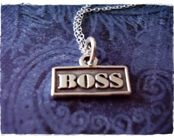Silver Boss Necklace - Sterling Silver Boss Charm on a Delicate Sterling Silver Cable Chain or Charm Only