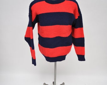 vintage pullover WOOL knit new zealand red and blue striped large fisherman