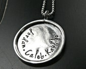 Rimmed Artisan Mothers Jewelry - Personalized Mothers Jewelry - Mothers Sterling Silver Pendant Jewelry - Custom Mothers Necklace