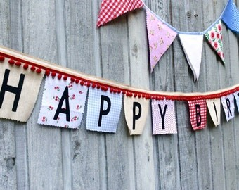 Birthday Banner, Fabric Bunting Flags, Party Decoration, Party Banner, Country Fair burlap, red gingham, cherries, blue girls birthday decor