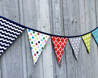 Bunting Flags Fabric Decoration Boys room decoration, photo prop, Birthday banner grey, red, green, navy, teal