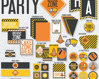 Construction Party PRINTABLES (INSTANT DOWNLOAD) by Love The Day