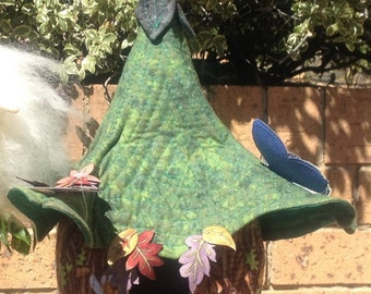 Quilted Fabric Hanging Fairy House
