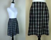 90s Plaid Skirt / 1990s Black High Waist Skirt / Grunge Plaid Skirt / Rainbow Skirt / Mix It M L