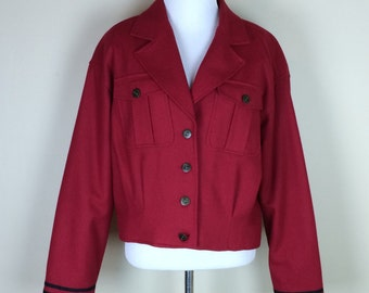 80s Red Jacket / 90s Crop Jacket / 1990s Lizwear / Cherry Red Jacket / 1980s Liz Claiborne / Button Up Military Coat M
