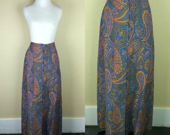 70s Tapestry Skirt / 1970s Maxi Skirt / Paisley Button Up Skirt / 70s Long Skirt / High Waist Skirt / John Meyer M