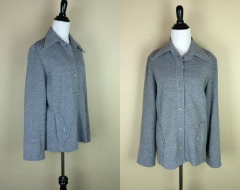 70s Gray Shirt / 1970s Pointed Collar Top / Rhodes Button Up Jacket L XL