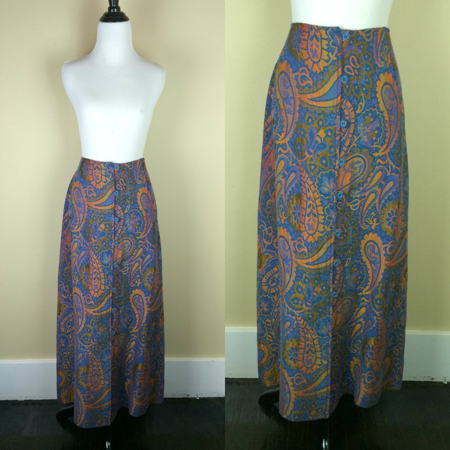 70s tapestry skirt 1970s maxi skirt paisley button up