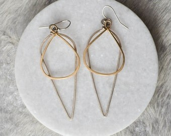 Spike Mixed Metal, Two-Tone, Silver & Gold, Earrings