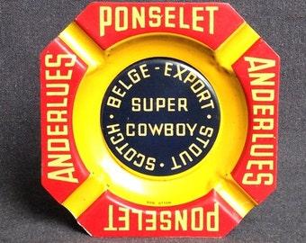 Vintage Super Cowboy Scotch advertising tray. Mens cave gift idea.