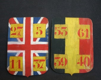 International blazons. Pair of antique wooden British escutcheons.