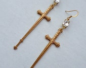 Romancing the Sword // Gold Brass Sword Earrings with Heart Detail, Long Shoulder Dusters, 1950s Vintage Clear Crystals // Gothic Couture