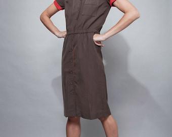 vintage 70s shirtwaist safari day dress khaki red knee length SMALL S
