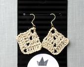 Metallic Mocha Crochet Earrings , Diamond Shape Cotton Earrings, Cream Bohemian Jewelry, Boho Earrings, hand-crocheted gift for women