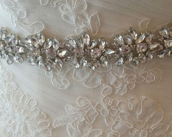 "Rhinestone Crystal and Lux Satin Bridal Sash ""The Belle"""