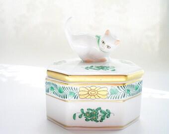Porcelain Jewelry Box Trinket Box Herend Trinket Box Cat Kitten Green Gift