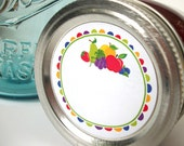 Fun Fruit Canning jar labels, 2 inch round stickers for jam and jelly, fruit preservation, jam jar labels
