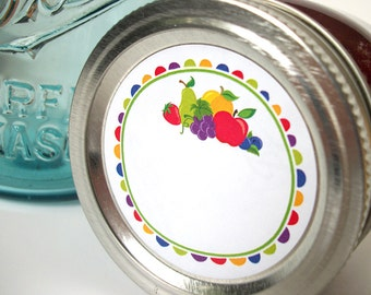 Fun Fruit canning jar labels, round mason jar stickers for jam and jelly fruit preservation, jam jar labels for regular & wide mouth jars