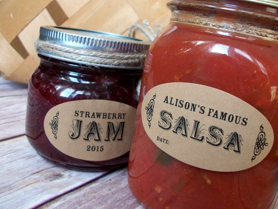 Custom Oval KRAFT paper canning jar labels Ball quilted jar : quilted by labels - Adamdwight.com