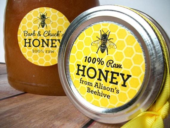 custom yellow honey bee canning jar labels custom honey