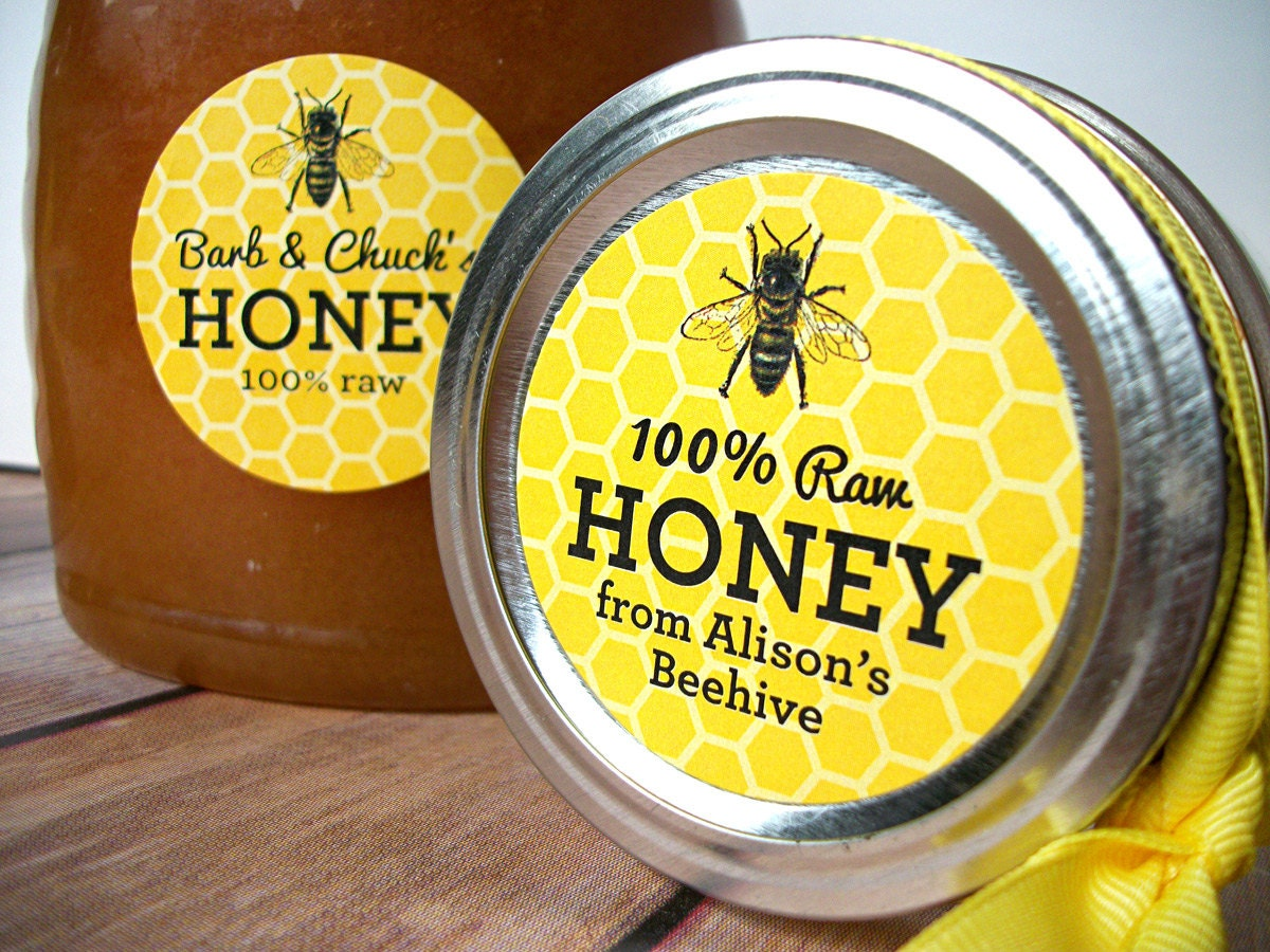 custom yellow honey bee canning jar labels custom honey With custom honey jar labels