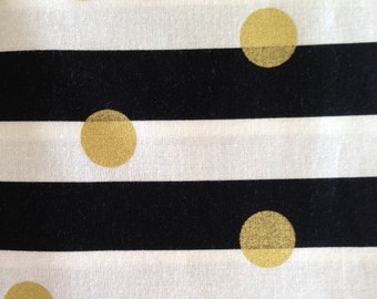 Dot on black stripe brother sister design studio fabric by the yard