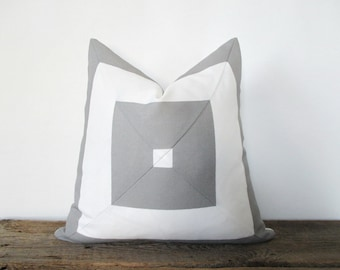Pillow Cover Grey & White Indoor Outdoor Mitered Stripes