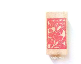 Floral tile of the Forbidden City. Rubber stamp