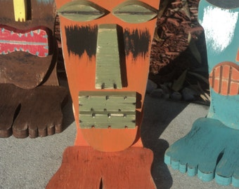 Tiki Mask With Feet, Wood Sculpture, Table Top Tiki, Tiki Man, Rustic Beach House, Tiki Bar