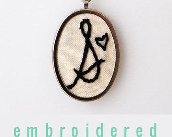 Embroidered Necklace. Initial Necklace. Letter Necklace. Custom Handwriting Jewelry Letter Pendant. Gifts for Her. Hand Embroidery Jewelry.