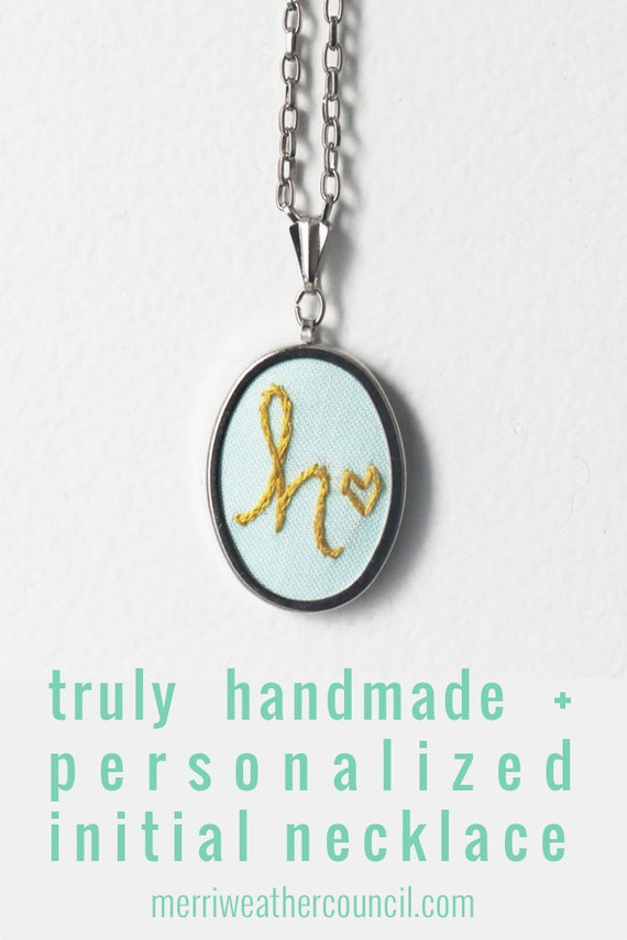 Personalized Necklace, Custom Initial Jewelry, Fabric Pendant. Stitched Letter and Heart. Colorful Hand Embroidery. Perfect for Mom.